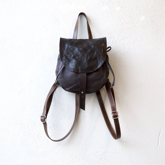 backpack purse adjustable small rugged leather
