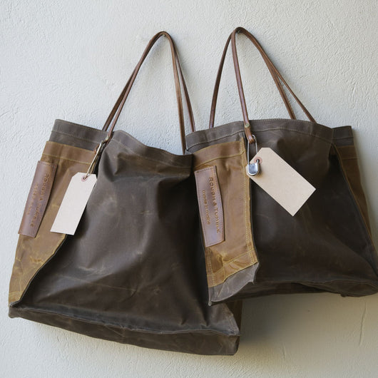 farmers market tote canvas wax shopper beeswaxed sienna