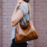 shoulder tote carryall pockets magnet leather