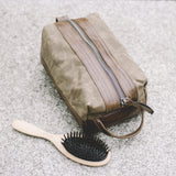 dopp kit bag mens travel toiletry zipper leather waxed canvas