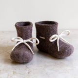 glerups washed wool baby bootie | natural brown