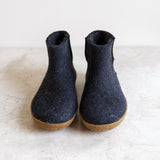 Glerups wool house boot | charcoal | rubber sole