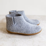 Glerups wool house boot | grey | rubber sole