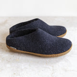 Glerups wool house shoe | charcoal | rubber sole