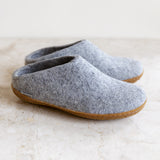 Glerups wool house shoe | grey | rubber sole