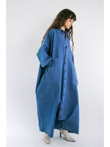 69 Big Button Up One Piece, Medium Light Denim