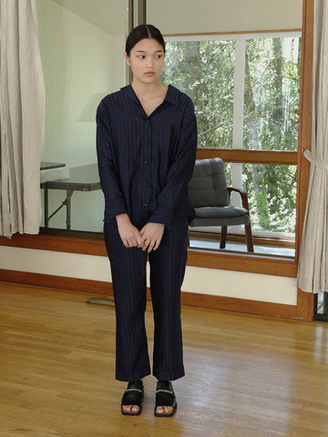A--Company Overlapping Relaxed Cuffed Trouser, Indigo Stripe