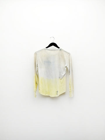 Audrey Louise Reynolds Long Sleeve Henley, Blue/Yellow Fade