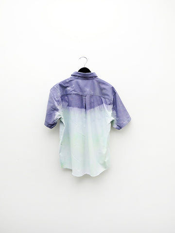Audrey Louise Reynolds Organic Cotton Oxford Button Down Shirt, Short Sleeve, Purple/Blue Fade