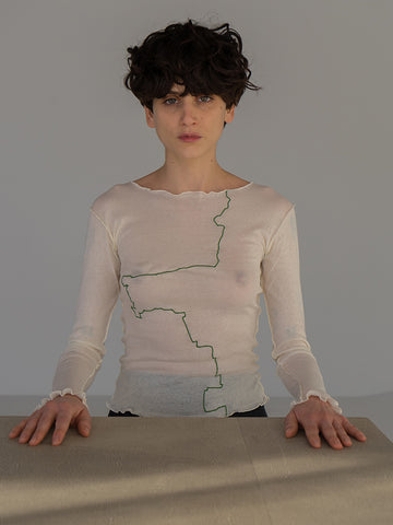 Baserange Gerrymandered Long Sleeve Top, Off White