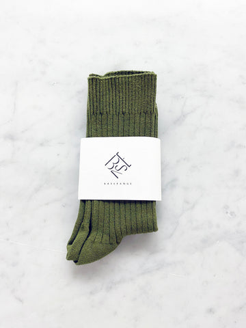 Baserange Rib Ankle Sock, Maple Green