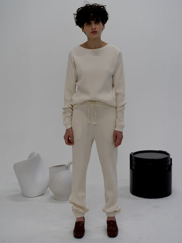 Baserange Rib Sweatpants, Off White