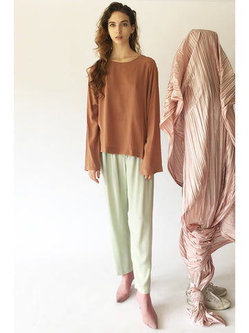 Long 1 Button Blouse, Nude