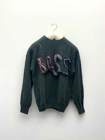 Bless Logoknit Sweater, Moss Green