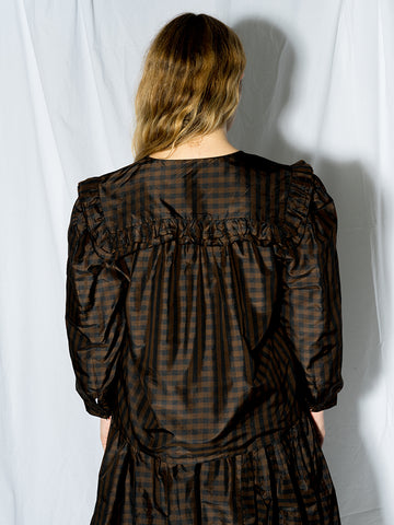Chelsea Mak Vienna Blouse, Brown/Black Gingham