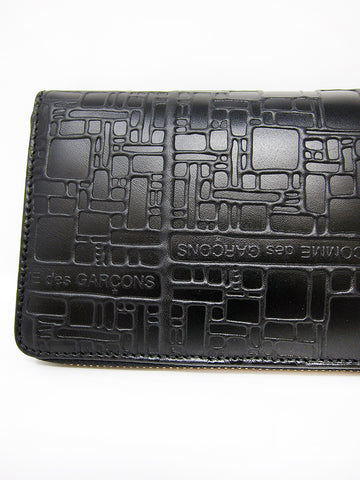 Comme des Garçons Embossed Logotype, Large Zip Wallet, Black - Stand Up Comedy