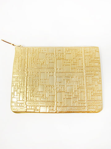 Comme des Garçons Embossed Logotype, Zip Pouch, Gold