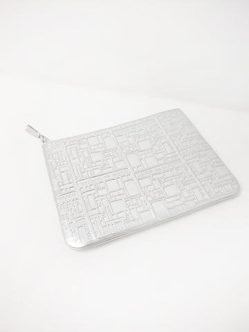 Comme des Garçons Embossed Logotype, Zip Pouch, Silver - Stand Up Comedy