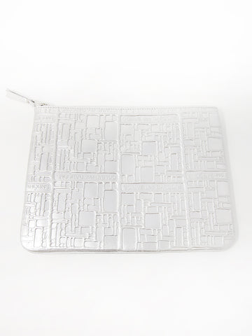 Comme des Garçons Embossed Logotype, Zip Pouch, Silver