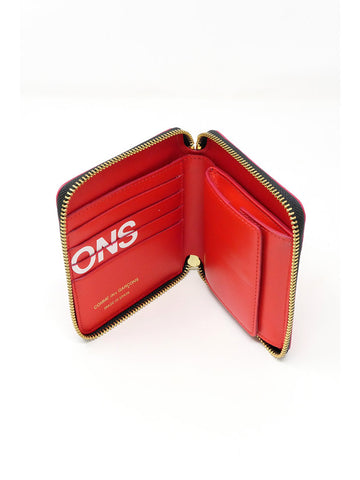 Comme des Garçons Huge Logo, Medium Zip Wallet, Red