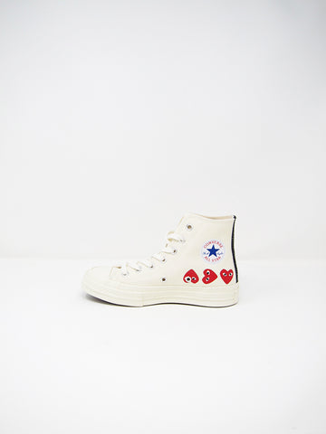 Comme des Garçons PLAY Converse, Off White Multiheart - Stand Up Comedy