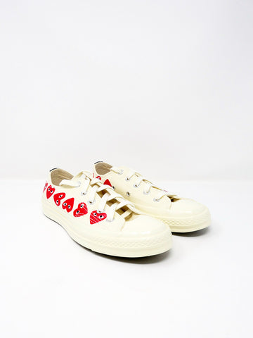 Comme des Garçons PLAY Converse, Low-Top, White Multi Heart