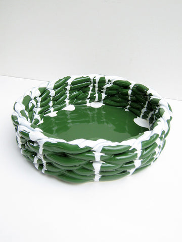 CristaSeya Anaphi Ceramic Bowl, Glossy Green - Stand Up Comedy
