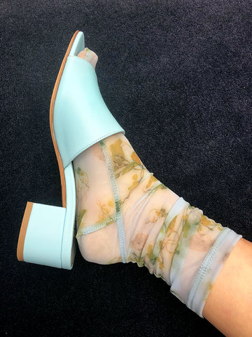 Darner Mesh Socks, Powder Blue Rosendals Floral