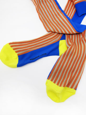 Eckhaus Latta High Sock, Yellow/Blue - Stand Up Comedy