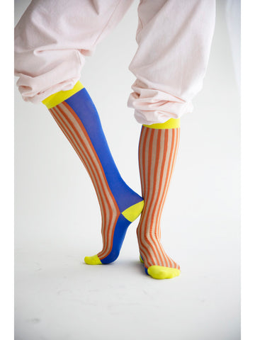 Eckhaus Latta High Sock, Yellow/Blue