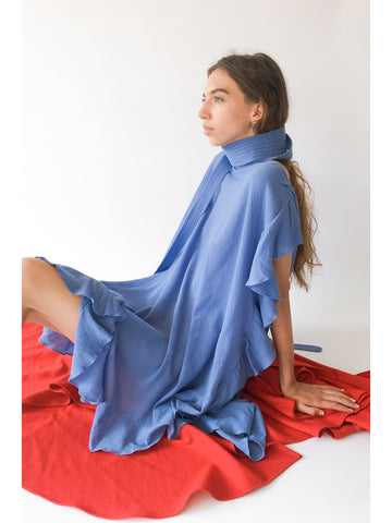 Electric Feathers Infinite Convertible Ruffled Kaftan, French Blue - Stand Up Comedy