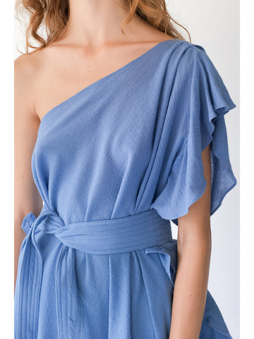 Electric Feathers Infinite Convertible Ruffled Kaftan, French Blue