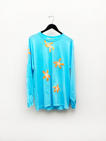 Frankie Krupa Vahdani Electric Blue Cherry Blossom T-Shirt, Long Sleeve