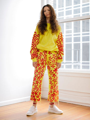 Frankie Krupa Vahdani Neon Lemonade Cherry Blossom Pant, All Over
