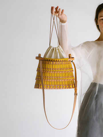 Hatori Basket Bag, Natural/Yellow Gold Lace - Stand Up Comedy