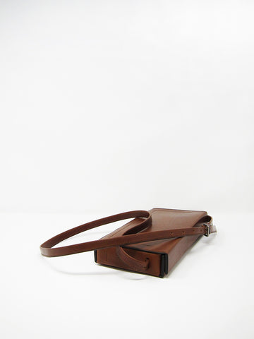 Isaac Reina Pleated Box Shoulder Bag, Chestnut