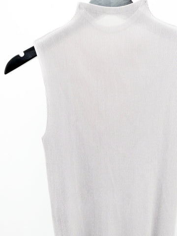 Issey Miyake Mist Micropleat Mock Neck Top, Warm Gray