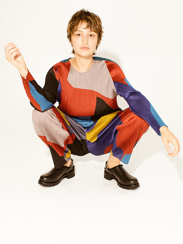 Issey Miyake Straight Pant, Clumpy Color Bordeaux