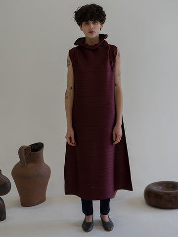 Issey Miyake Cantabile Funnel Neck Dress, Bordeaux
