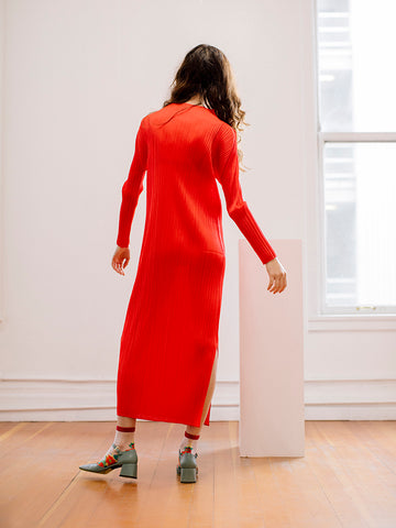 Issey Miyake Long Sleeve Dress, Red - Stand Up Comedy