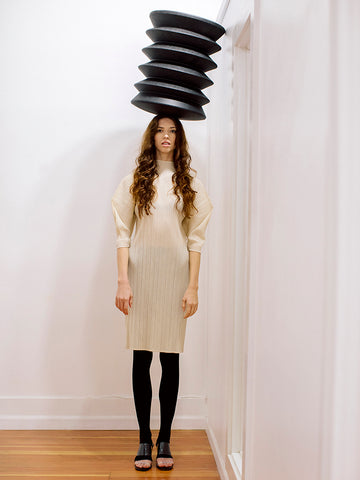 Issey Miyake Stilted Form Dress, Beige - Stand Up Comedy