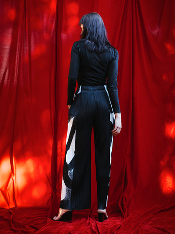 Issey Miyake Wide Leg Pant, Monochrome - Stand Up Comedy
