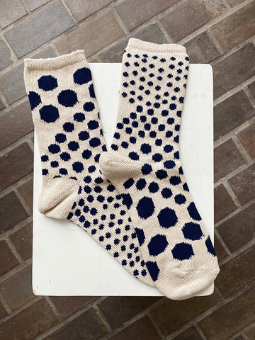 Kapital Asymmetry Dot Socks, Ecru