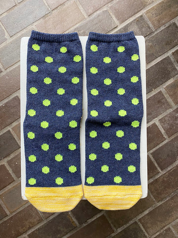 Kapital Yarns Smiley Socks, Polka Dot, Navy
