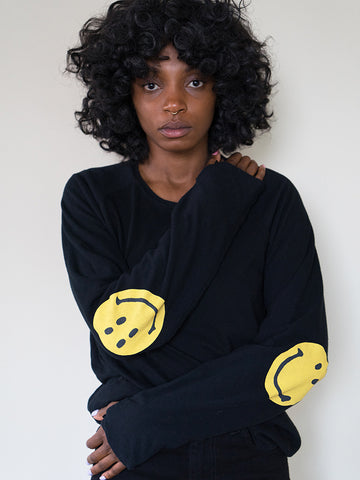 Kapital Chef Smiley Long Sleeve T, Black