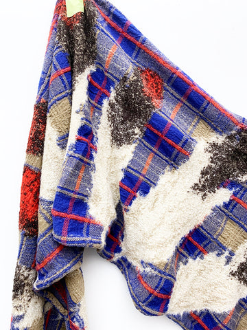 Kapital Compressed Wool Scarf, Feather Tartan