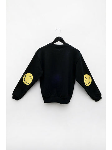 Kapital Eco Jersey Smiley Sweatshirt, Black
