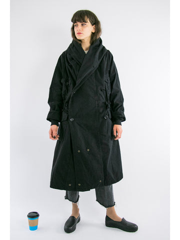 Kapital Katsuragi Tall Ring Coat, Black