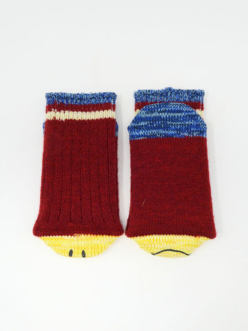 Kapital Wool Ivy Smiley Socks, Red