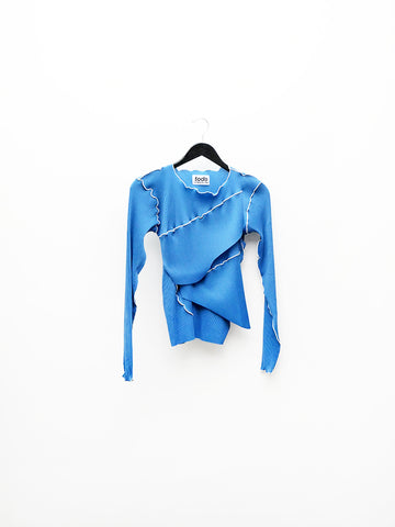 Kotohayokozawa Long Sleeve Pleat Top, Blue